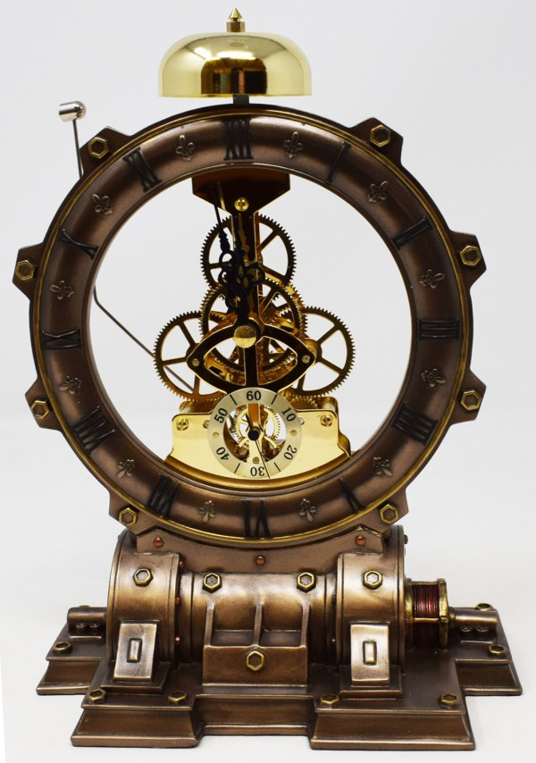 Unusual Time Machine Clock Steampunk Mantel Bell Cogs