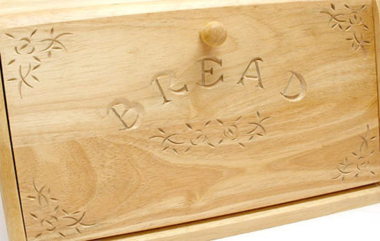 Large 15 Wooden Bread Bin Decorative Carved Drop Door