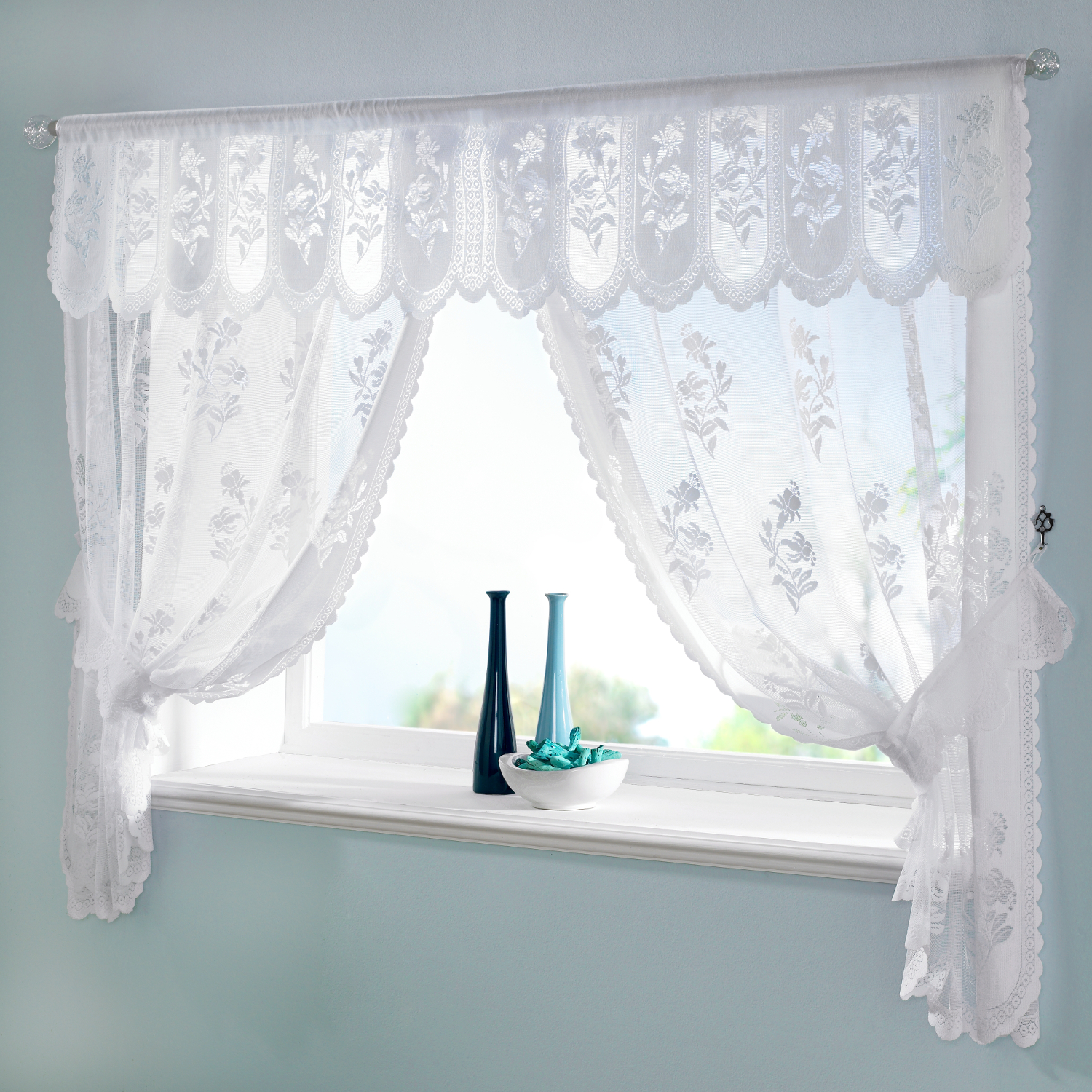 Jacquard Lace Net Curtain Window Set Floral Ready Made