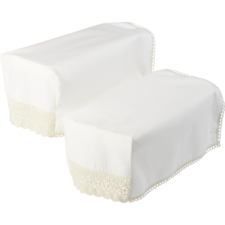 cream sofa arm covers recovering cushions pair of square caps decorative lace trim