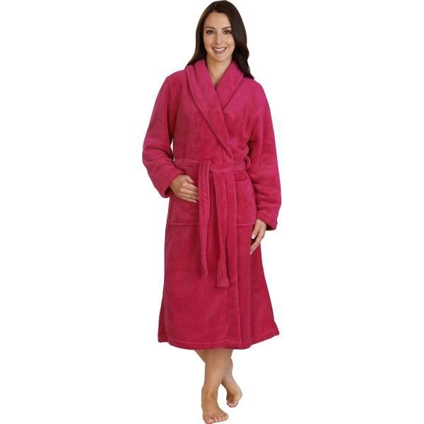 Womens Long Bathrobe Ladies Soft Slenderella Fleece Dressing Gown House Coat