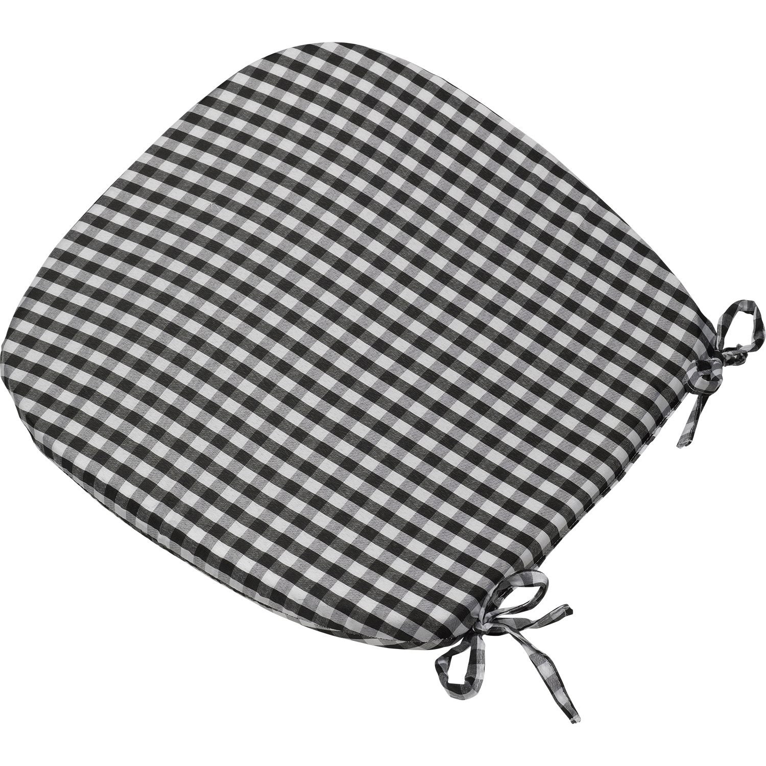 chair cushions tie on full tilt first ski boots gingham check seat pad 16 quot x kitchen outdoor