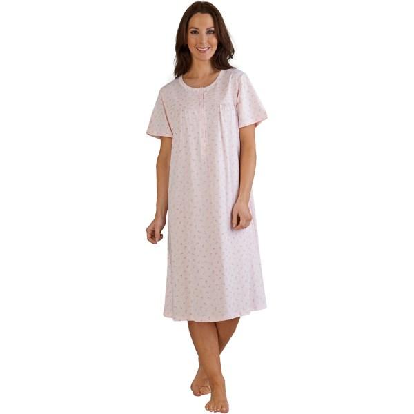 Ladies Slenderella Floral Night Dress Womens 100 Cotton Short Sleeved Nightgown