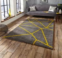 Grey Yellow Shaggy Pile Rug Royal Nomadic Geometric Design ...