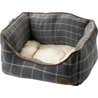 Petface Window Pane Check Square Pet Dog Bed Faux