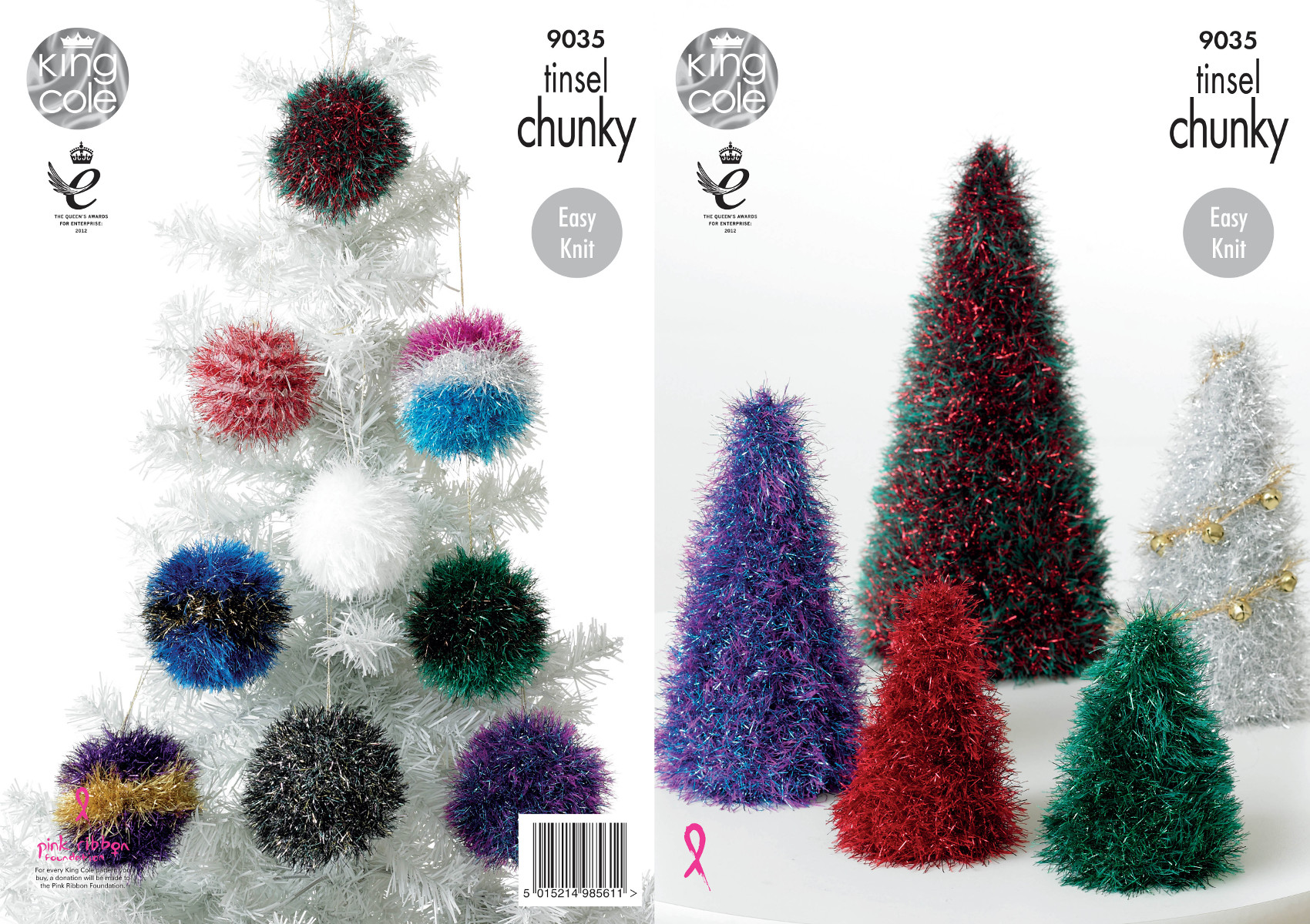 itm king cole tinsel chunky decorations knitting pattern christmas tree baubles
