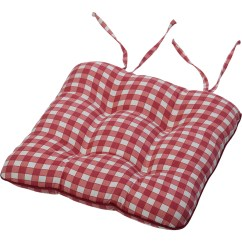 Red Kitchen Chair Pads Amish Dining Room Chairs Tie On Square Gingham Seat Pad Cushion Outdoor