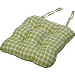 Green Chair Cushions Wedding Stage Chairs Gingham Check Cotton Seat Pad 14 Quot X 15 Kitchen Outdoor
