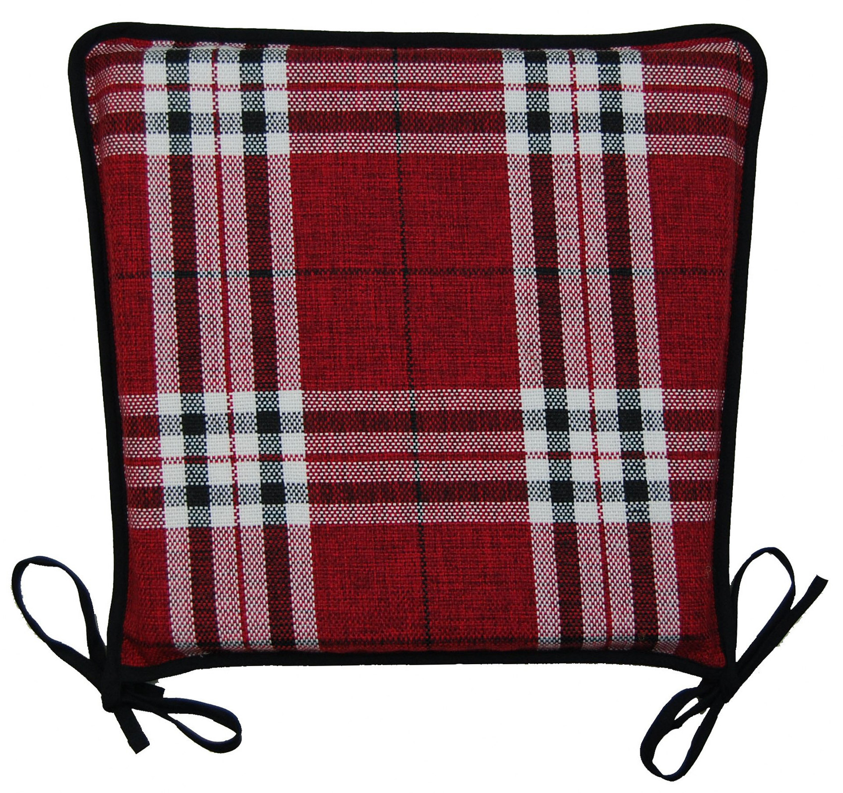 red kitchen chair pads revolving without handle seat pad 100 polyester tartan check garden dining