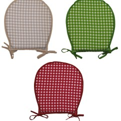 Gingham Dining Room Chair Covers Stainless Steel Exporter 100 Cotton Check Round Seat Pad Garden