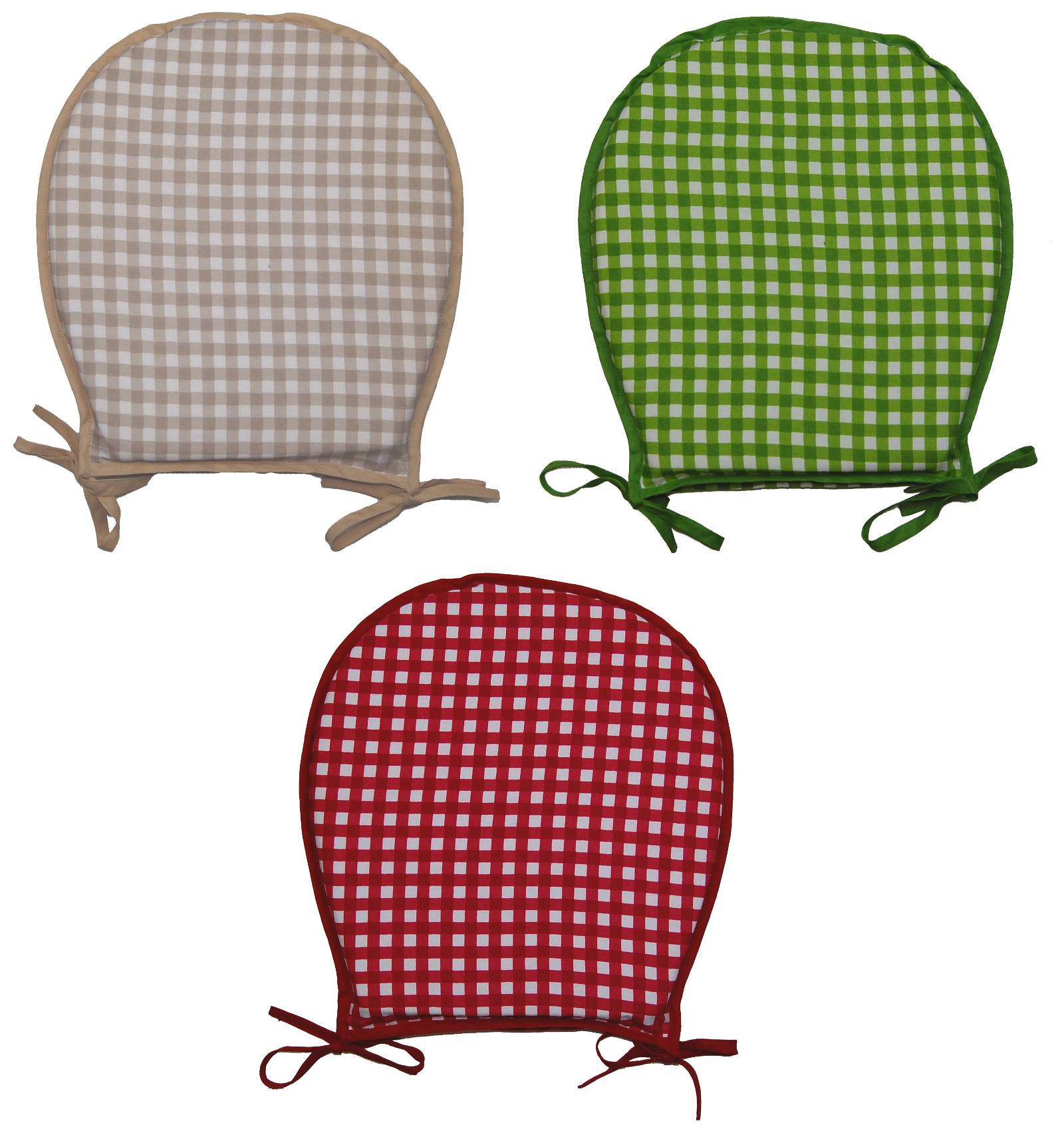 round chair pad outdoor and ottoman cushions 100 cotton gingham check seat dining garden