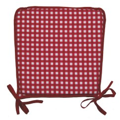 Red Kitchen Chair Pads Cover Hire Gosport Garden Seat Pad 100 Cotton Gingham Check Dining