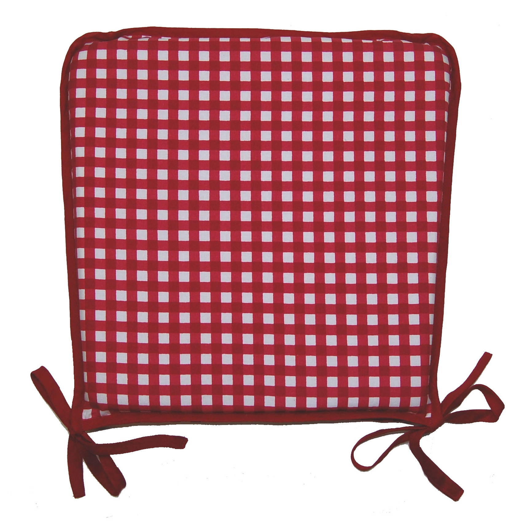 red kitchen chair pads parson covers ebay garden seat pad 100 cotton gingham check dining