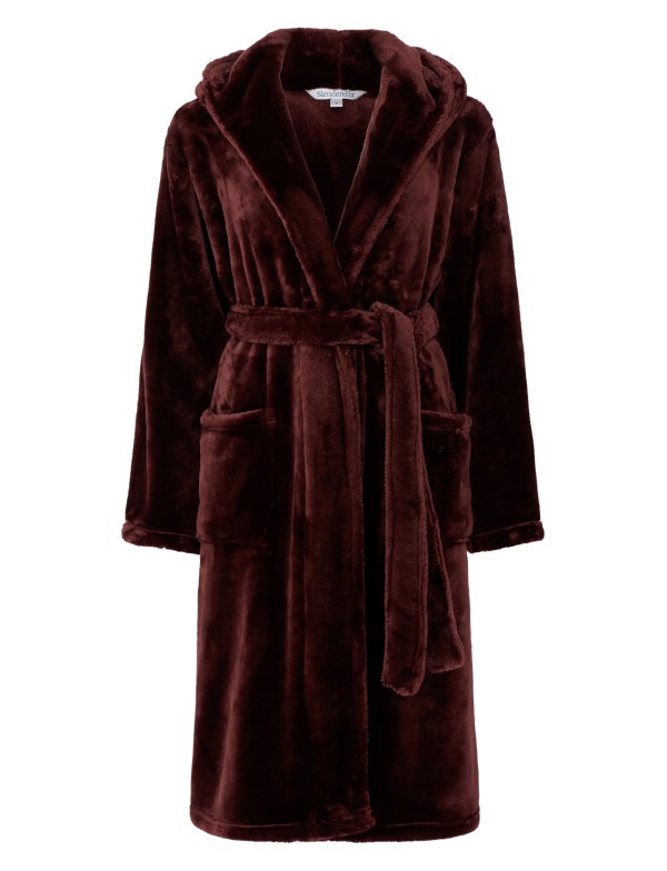 Dressing Gown Luxury Super Soft Thick Fleece Ladies Hooded Slenderella Bathrobe