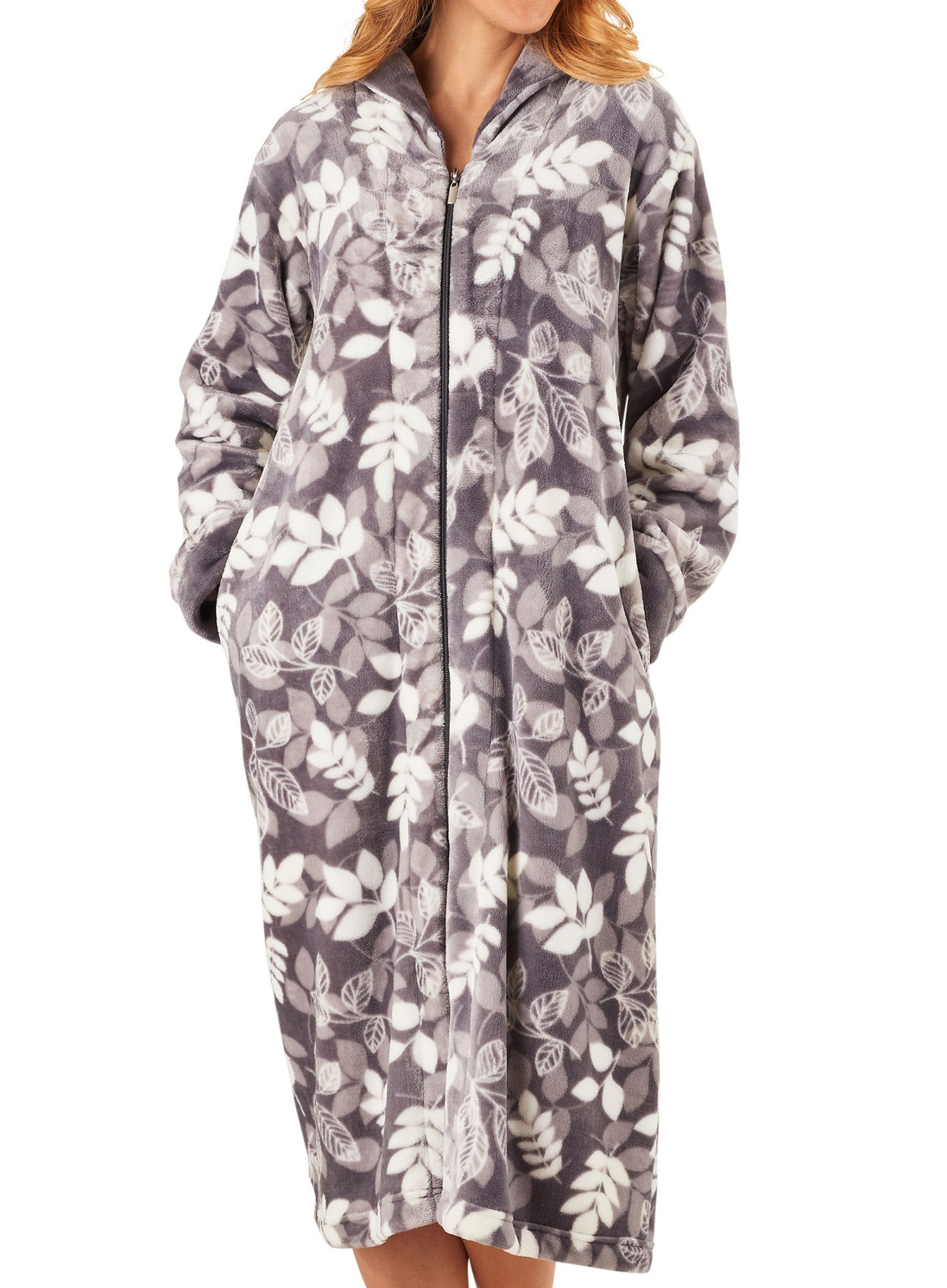 Dressing Gown Womens Leaf Pattern Zip Up Bathrobe