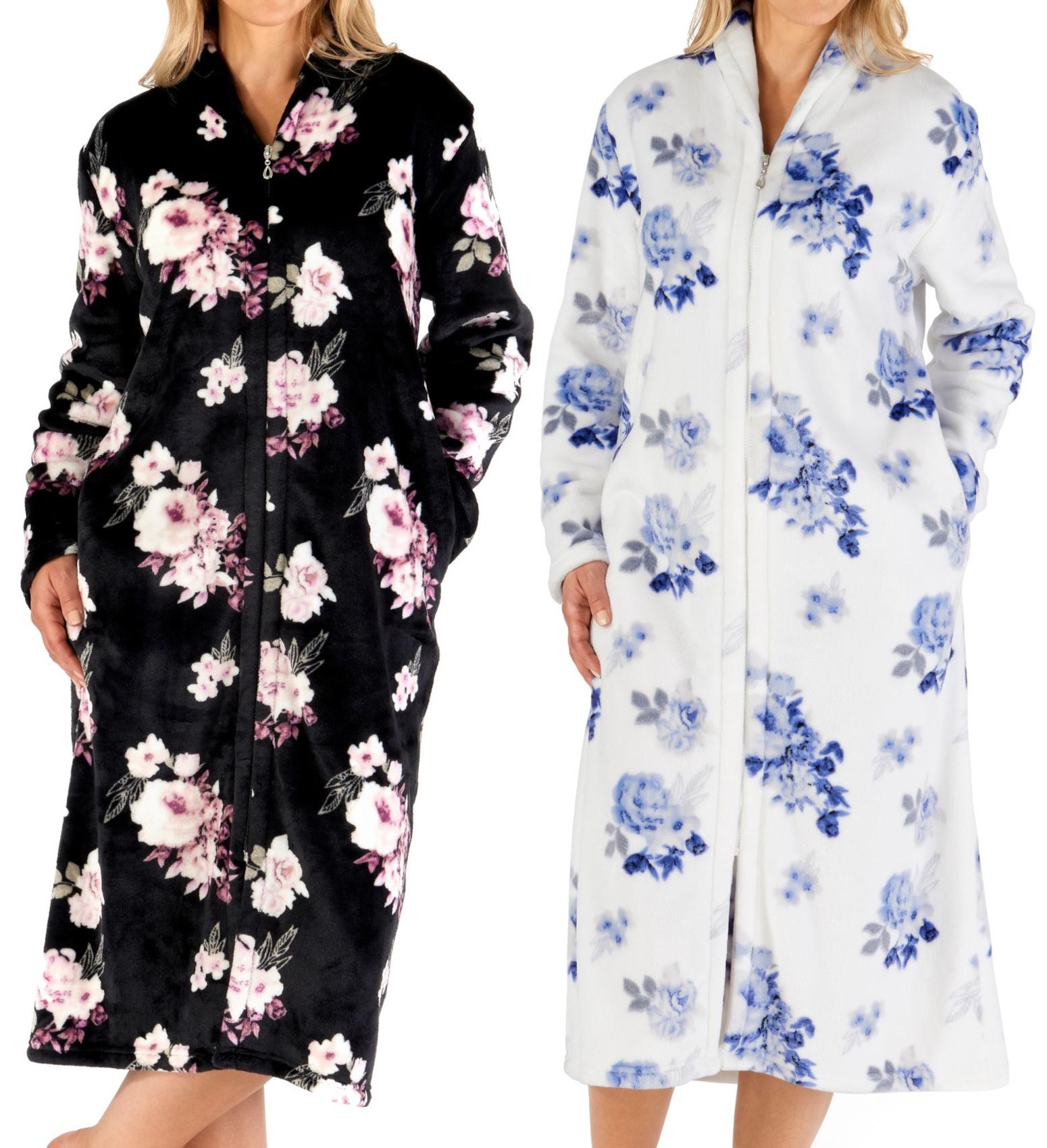 Femmes Floral Fermeture Eclair Robe De Chambre Souple Flanelle Polaire Peignoir Ebay