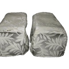 Decorative Chair Covers Blue Patterned Accent Pair Cream Arm Cap Settee X 2 Ebay