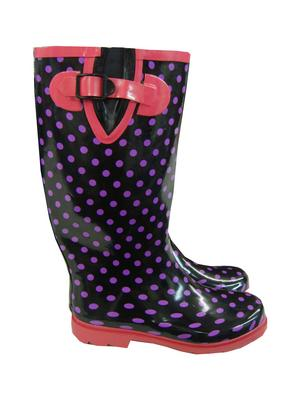 Mill Outlets Black/Purple/Pink Ladies Fashion Wellies