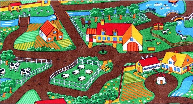Childrens Play Rug Farm Yard Design Kids Novelty Mat