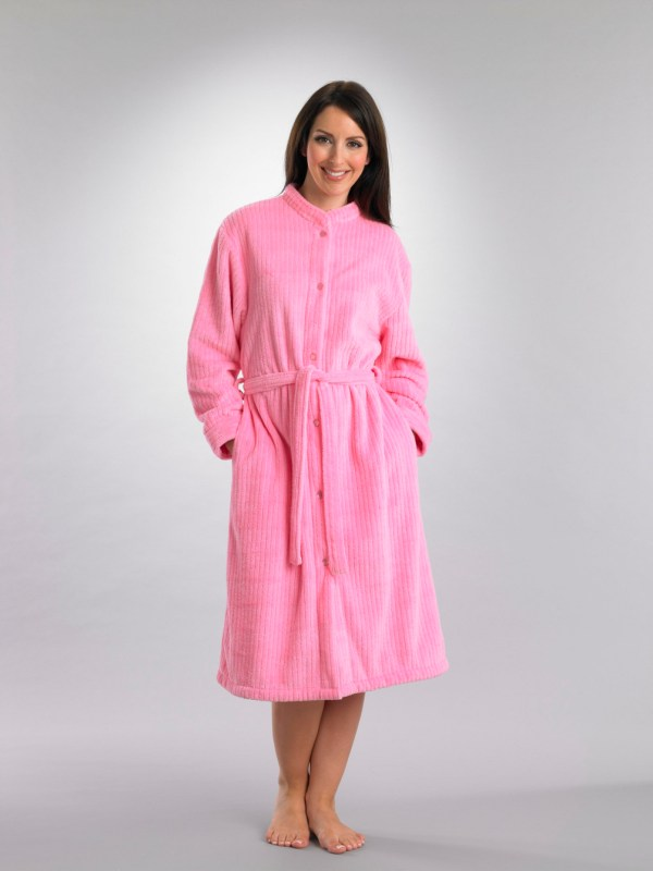Womens Button Housecoat Ladies Slenderella Soft Fleece Ribbed Dressing Gown