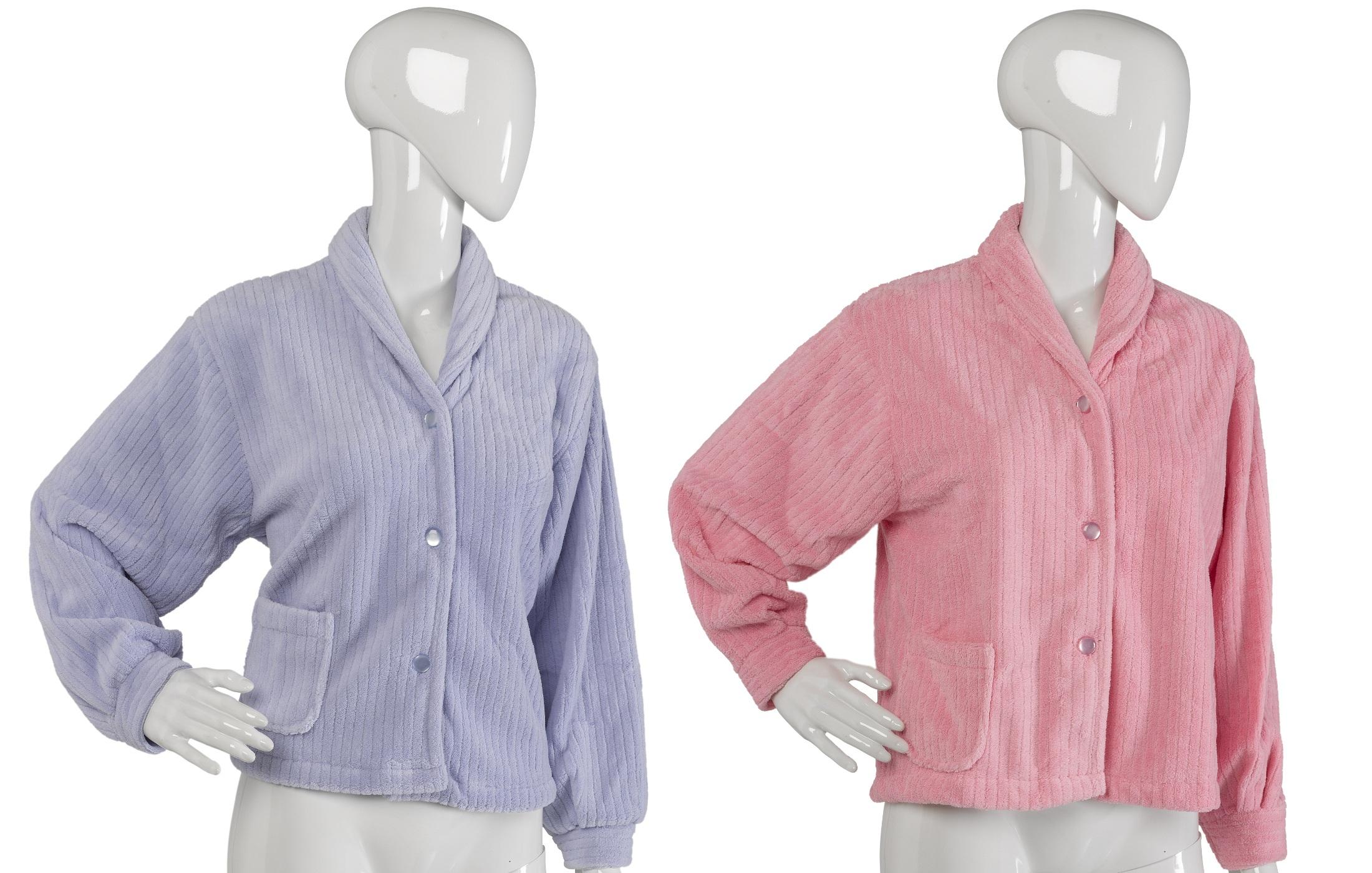 Women Slenderella Luxury Ribbed Effect Bed Jacket Fleece