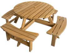 Outdoor 8 Seater Bench Pub Garden Stained Pine