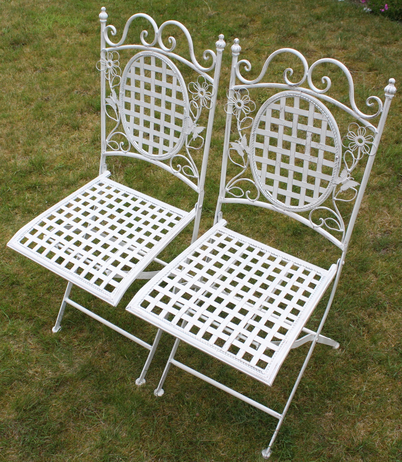 White Metal Chair Two White Floral Outdoor Folding Metal Square Chairs