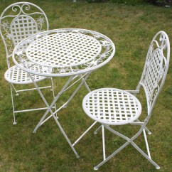 Foldable Table And Chairs Garden White Glider Chair Floral Outdoor Folding Metal Round
