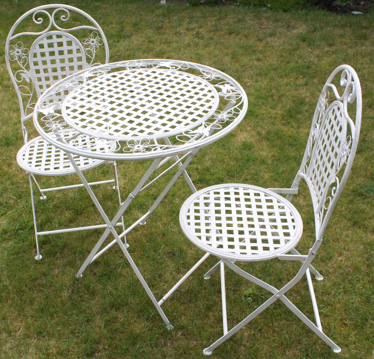 Patio Furniture Table And Chairs White Floral Outdoor Folding Metal Round Table And Chairs