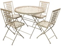 Woodside Folding Metal Outdoor Garden Patio Dining Table ...