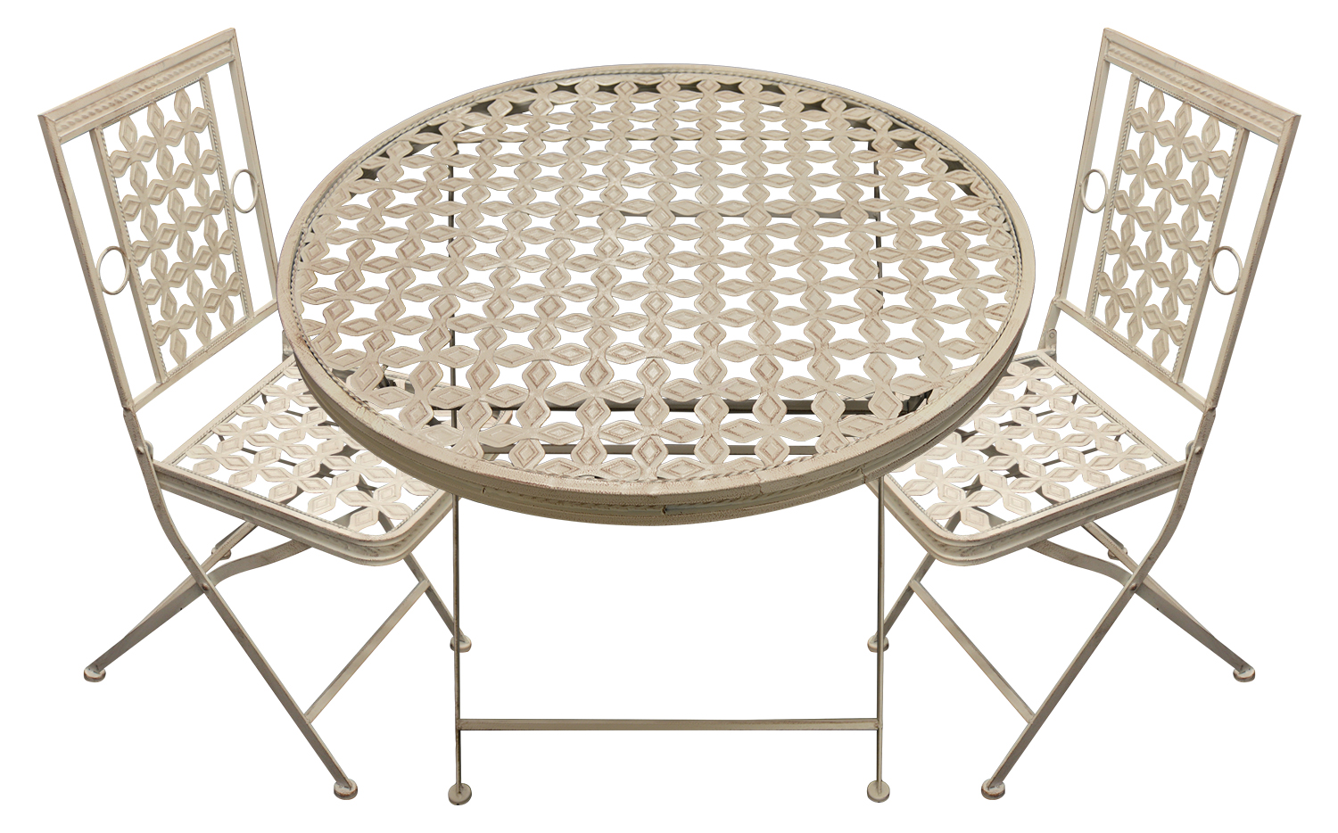 Folding Round Garden Patio Table With 2 Square Chairs