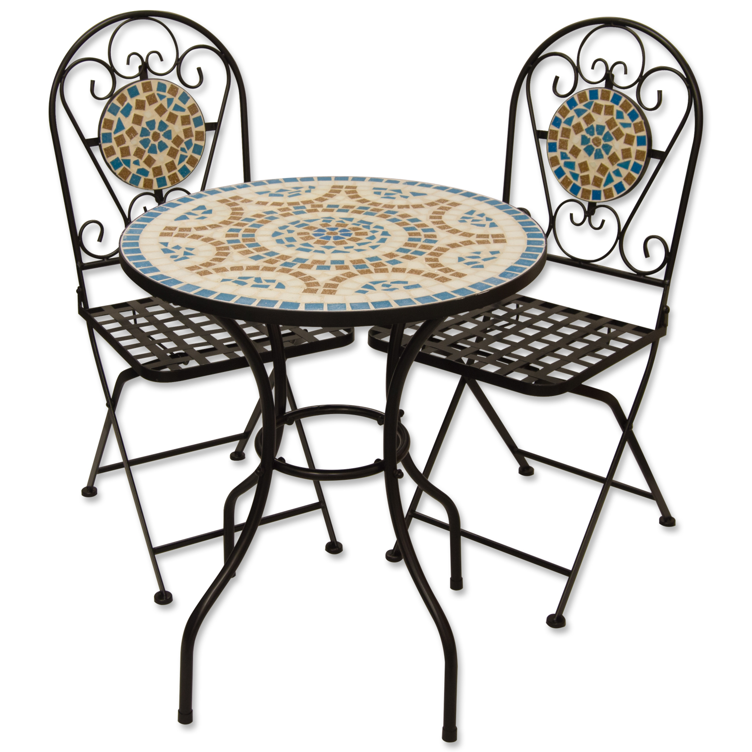blue metal folding chairs evenflo high chair mosaic outdoor garden table and set ebay