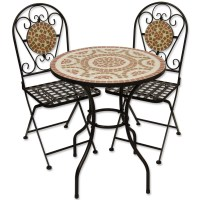 Mosaic Outdoor Dining Garden Table And Folding Chair Set ...