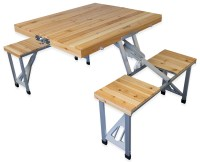 Andes Wooden Folding Portable Camping/Picnic Outdoor Table ...