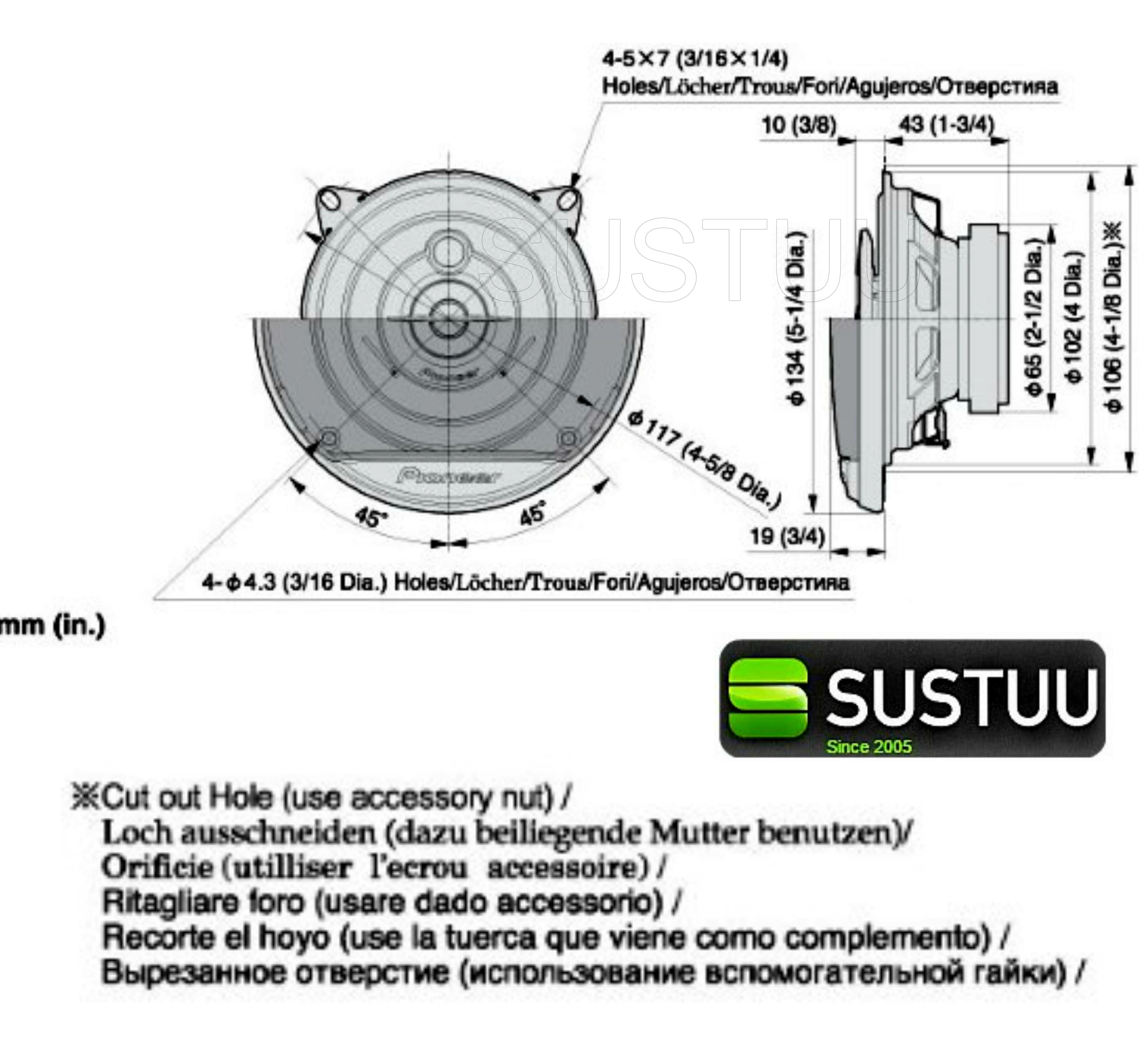Pioneer TS-G1033i 3-Way Coaxial Car Door Speakers [4