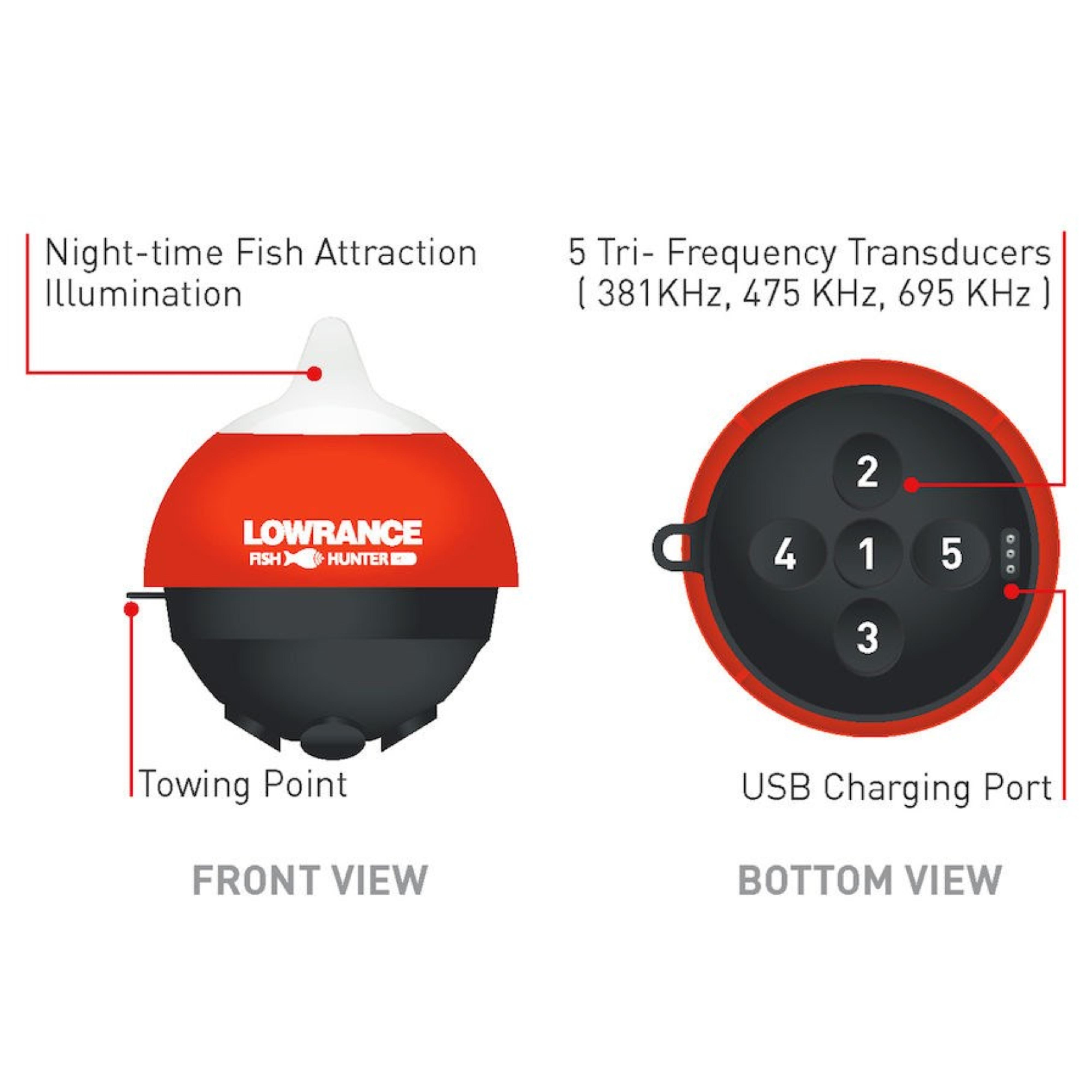 Lowrance FishHunter 3D Wireless FishFinder Transducer