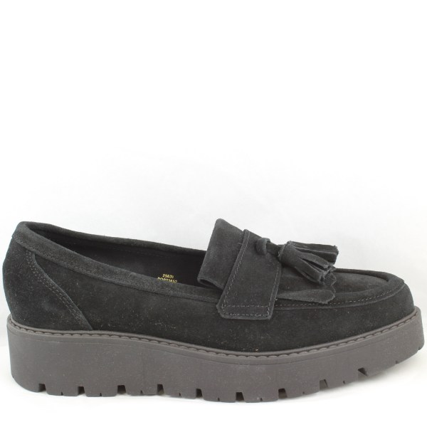 Womens Office Black Suede Slip Loafers Uk Size 5