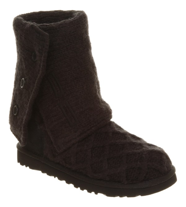 Womens Ugg Australia Lattice Cardy Black Knit Boots