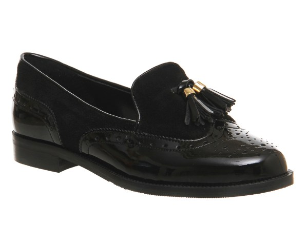 Womens Office Ringo Tassel Loafers Black Patent Suede