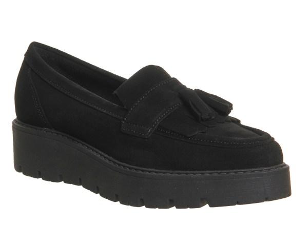 Womens Office Punky Flatform Tassel Loafers Black Suede