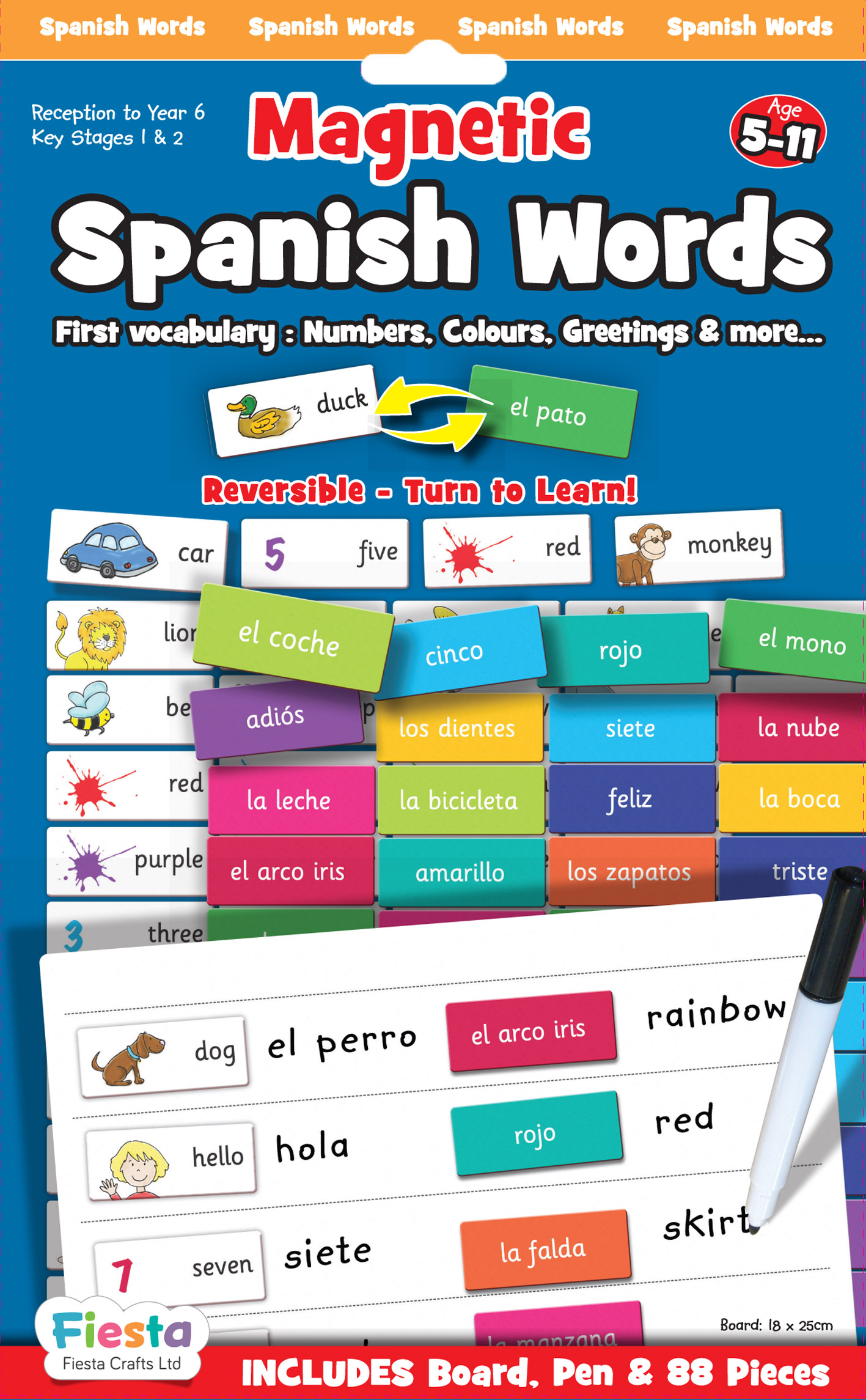 Childrens Learn Spanish Magnetic Words Game Board By