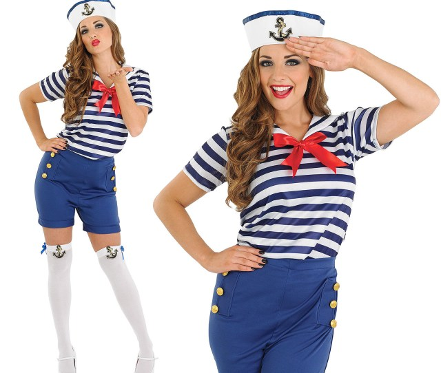 Details About Ladies Sassy Sailor Girl Costume Sexy Navy Military Fancy Dress Outfit Womens Xl