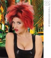 ladies red spikey hair wig punk