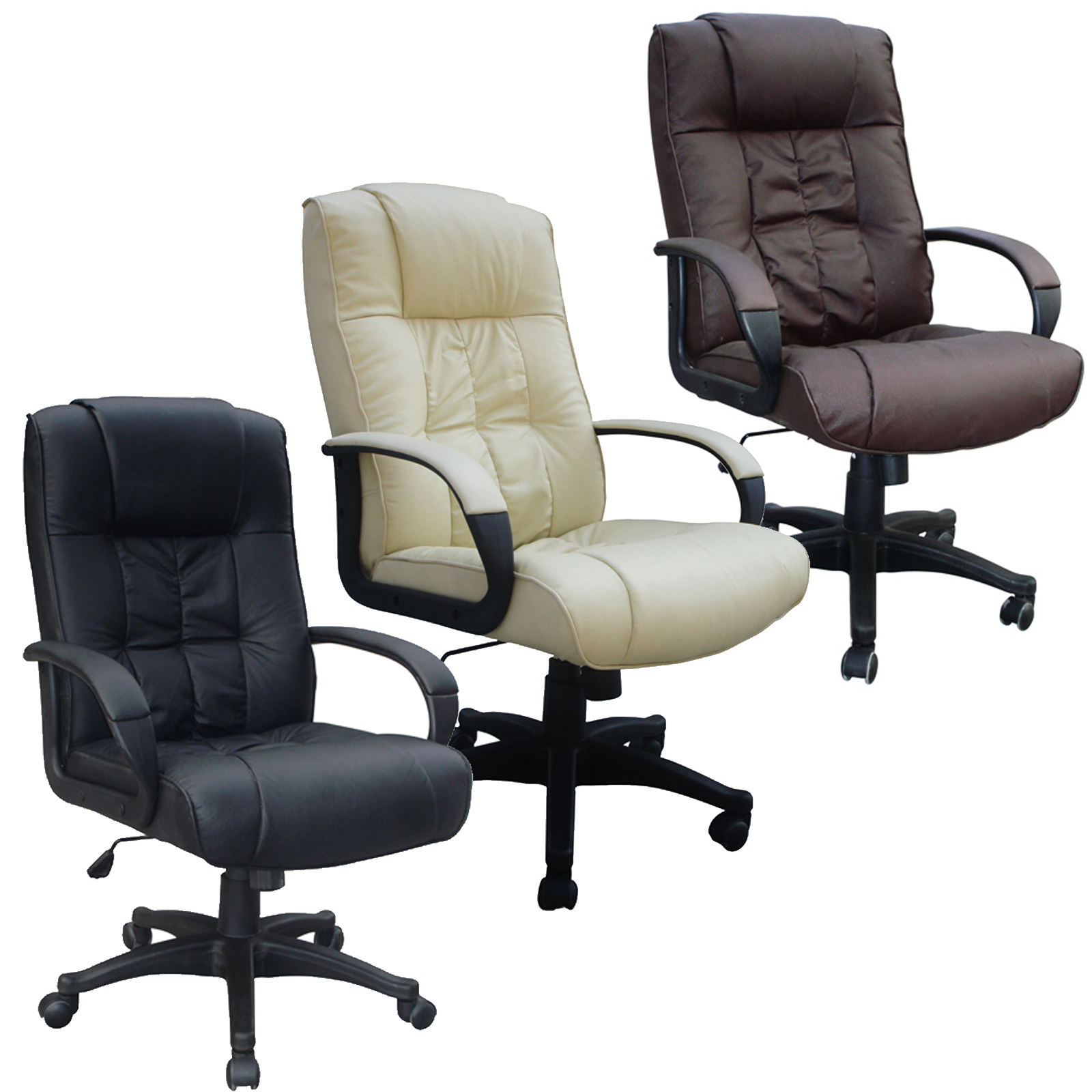 Swivel Desk Chairs Cow Split Leather High Back Office Chair Pc Computer Desk