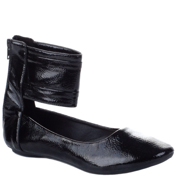 Ladies Black Ankle Cuff Flat Ballet Shoes Size 3-8