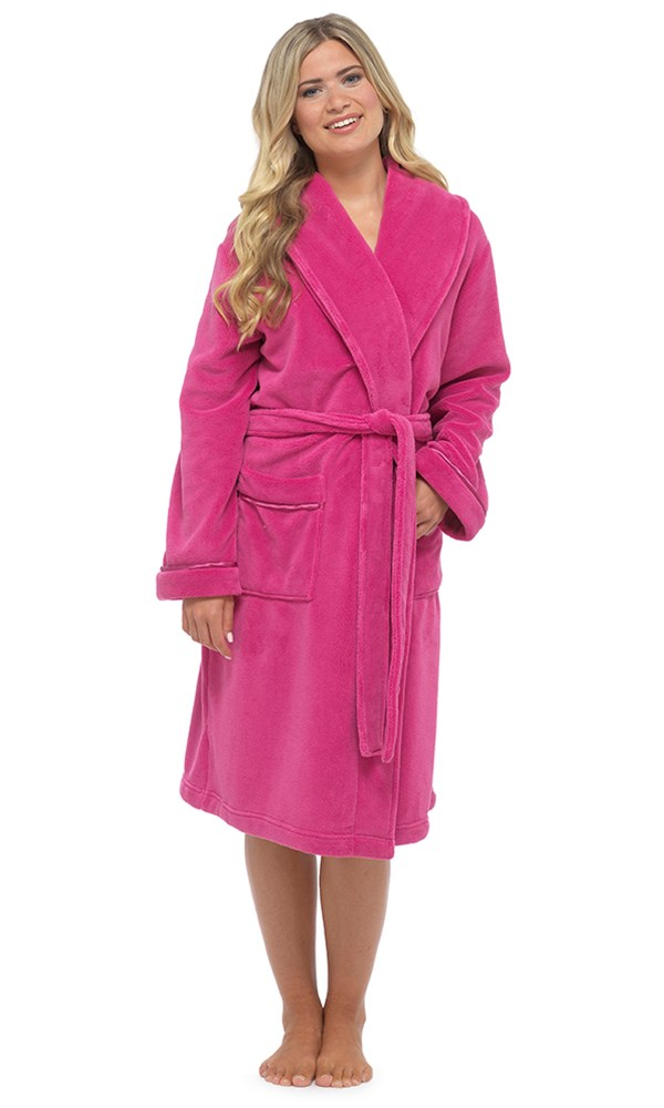 Ladies Hooded Housecoat Fleece Bath Robe Dressing Gown Soft Womens Size 8-22