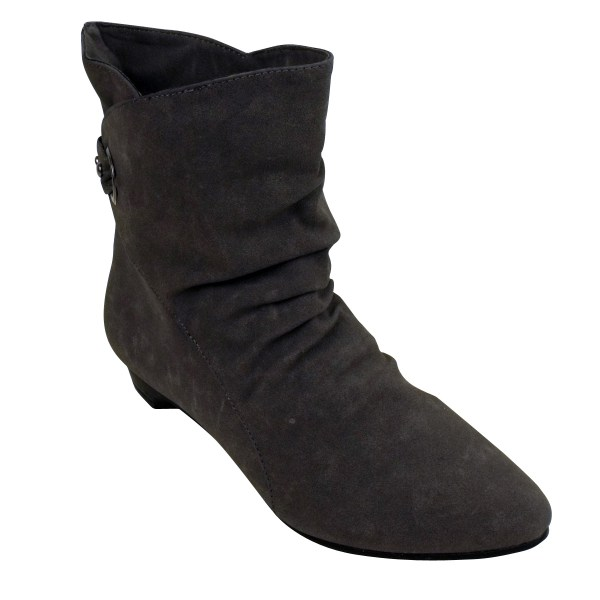 Womens Grey Faux Suede Slouch Smart Cuff Ankle Boots Ladies Pixie Boot Size 3-8