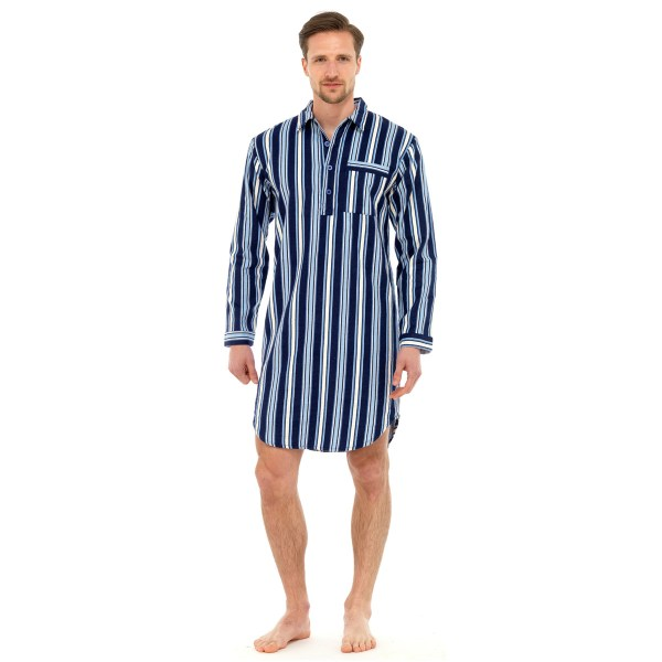 Mens Traditional Nightshirt Flannel Pj Pyjama Night Shirt