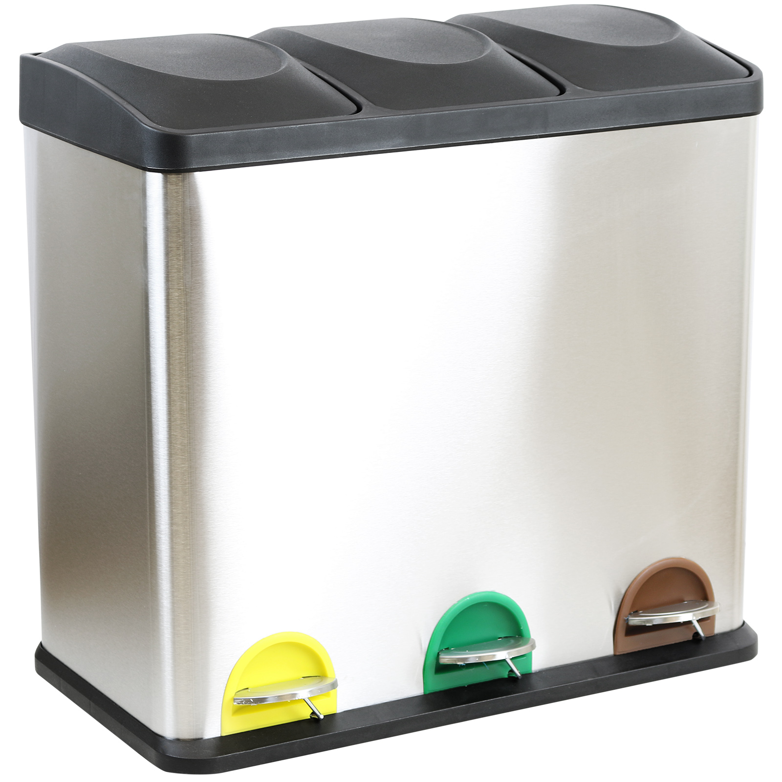 small recycling bins for kitchen ikea table top 54 litre triple pedal bin compartment