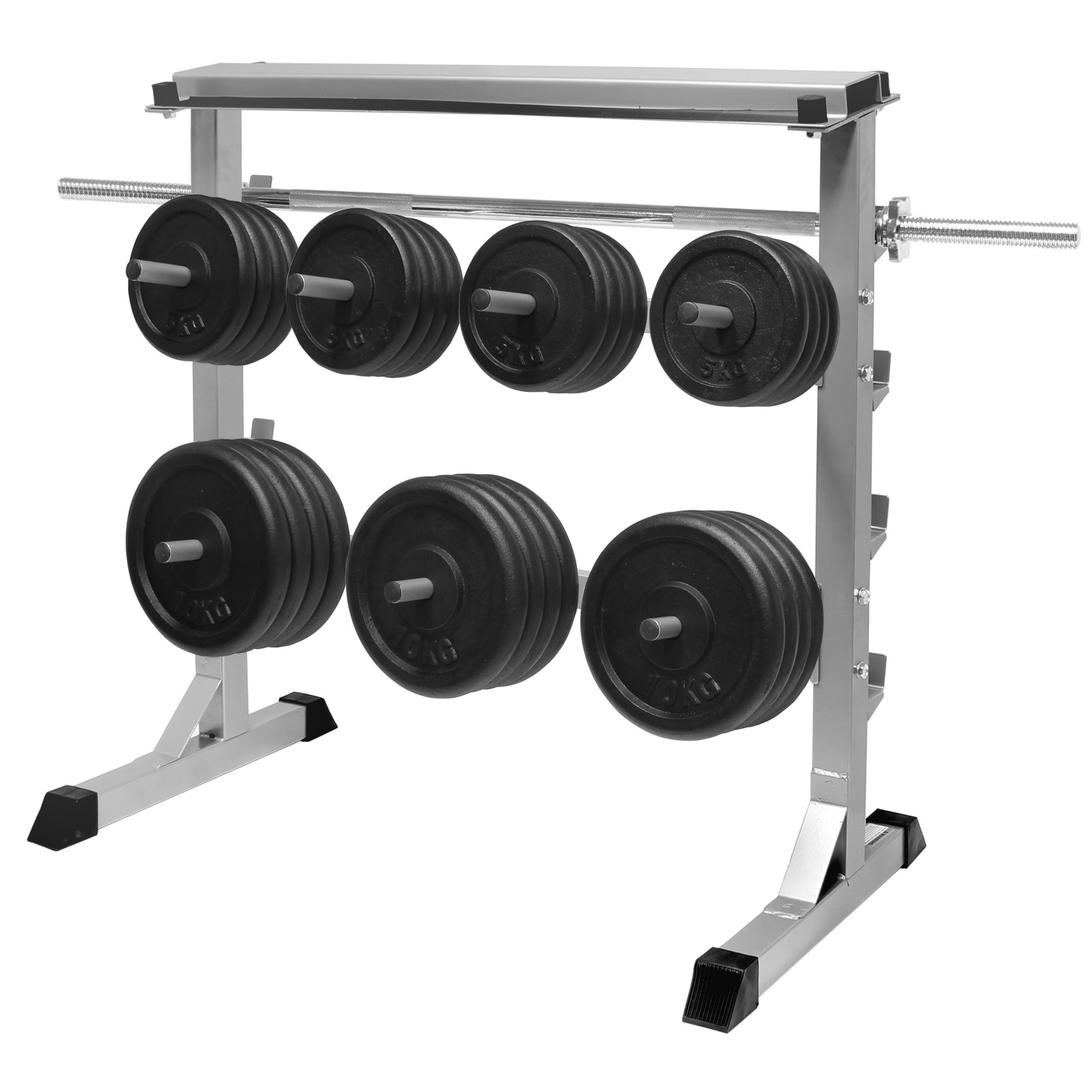 MIRAFIT 300kg Gym Weight Plate & Bar Rack Storage Stand